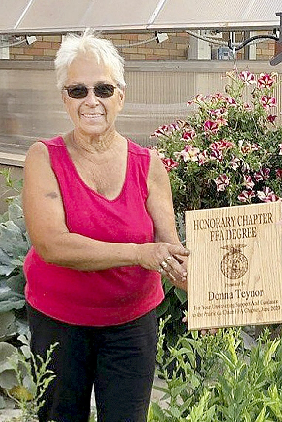 By Correne MartinThe first time local volunteer Donna Teynor met Prairie du Chien High School FFA adviser Diane Colburn, Donna said she had always wanted to be a member of the FFA. However, she was never able to be an official member because girls weren't allowed in the organization...