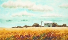 """""""Golden Fields"""" is one of many works by American artist Gene Sharp to be featured in a new gallery opening this weekend in Elkader. Sharp was raised in Elkader but later lived and worked in Chicago."""